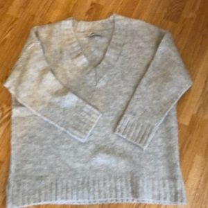 Gray V neck soft oversized sweater